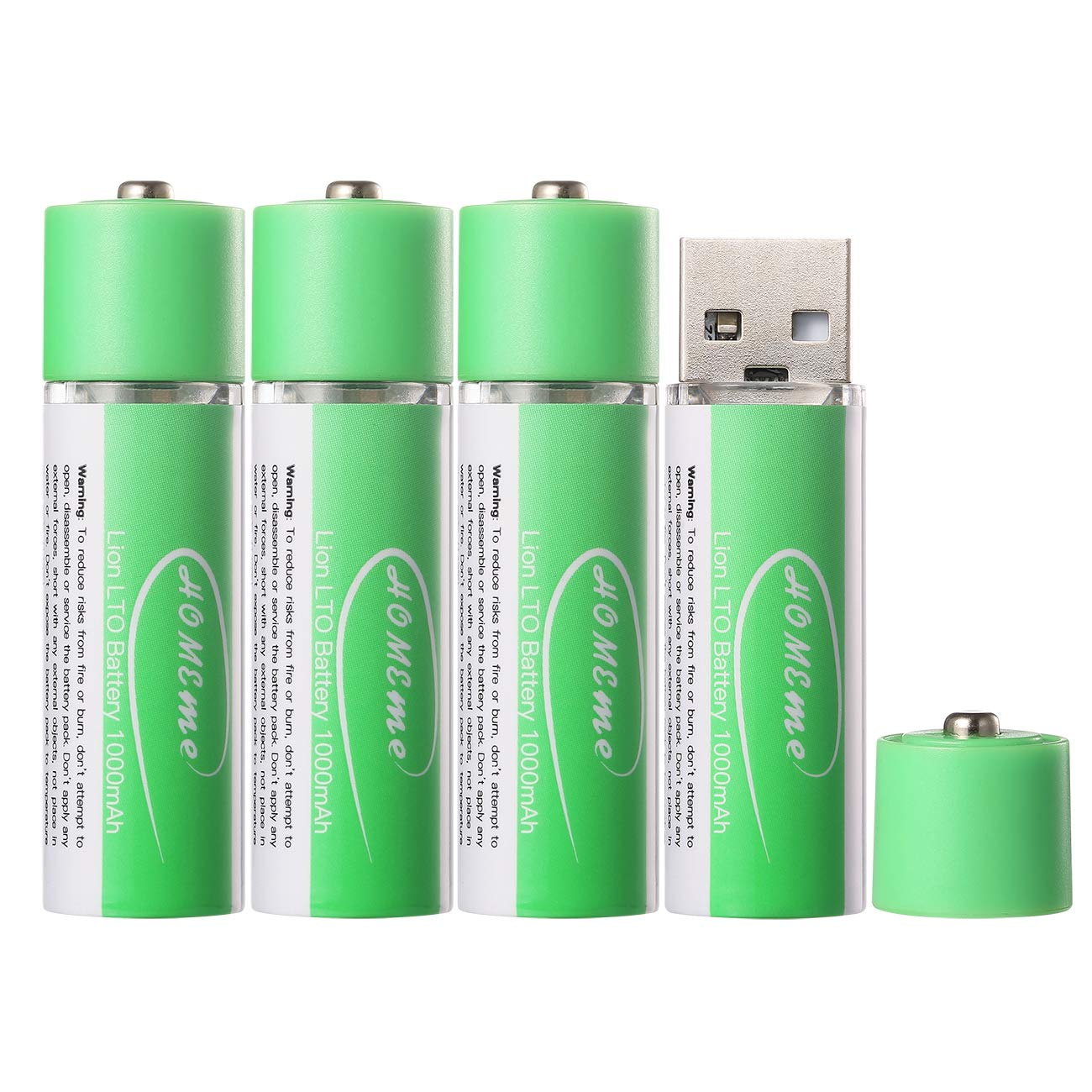 USB Rechargeable AA Lithium-ion Batteries 1.5V/1000mAH (Pack of 4) 1 Hour Fast Charging 1000 Recharge Cycles Reusable Double A Battery,UL Listed,Green