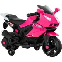 Uenjoy Kids Ride On Motorcycle 6V Electric Battery Powered Motorbike for Kids, Training Wheels, Music, Headlight,Pink