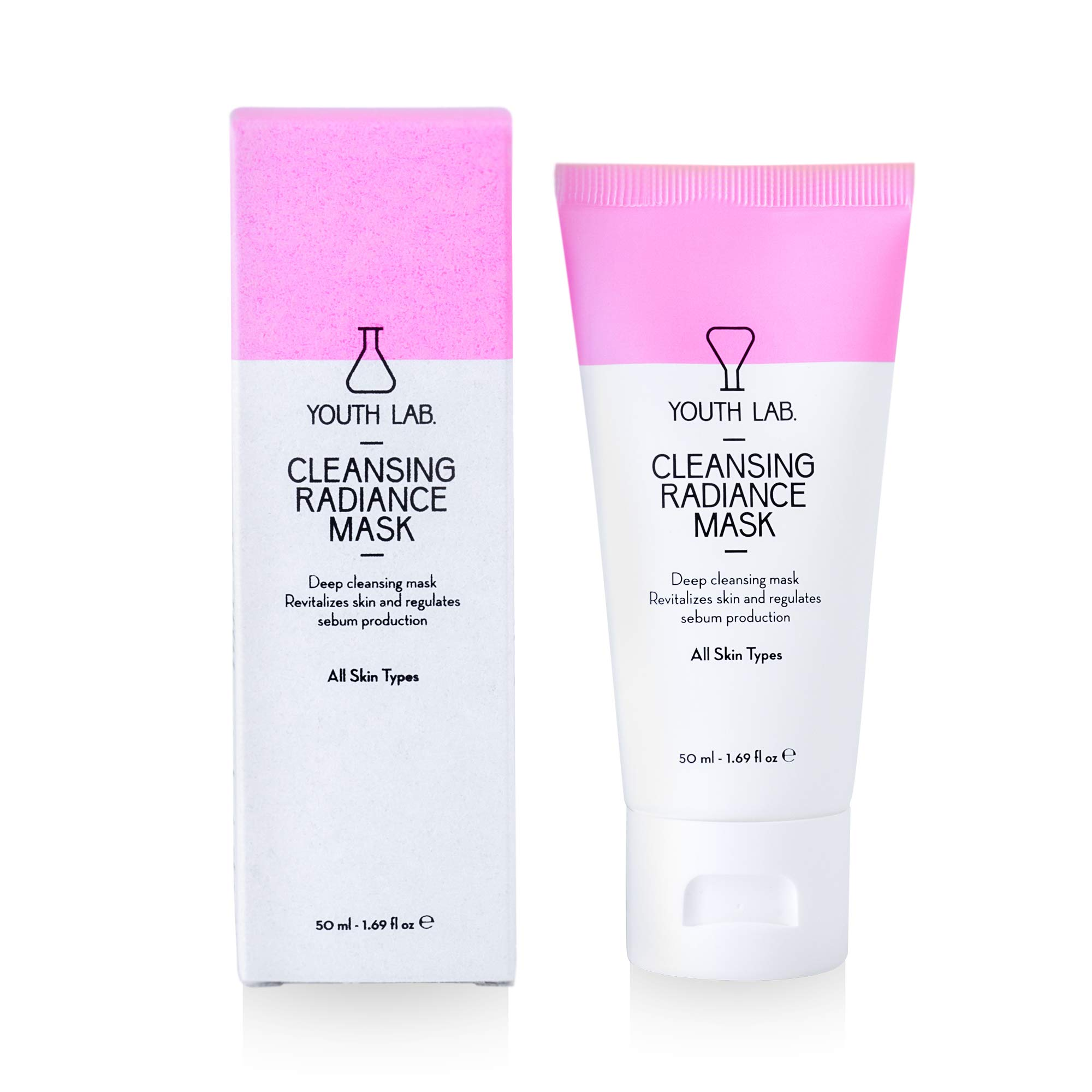 YOUTH LAB Cleansing Radiance Mask - Deep Hydrating Face Beauty Care for All Skin Types - Facial Blackhead Remover and Pore Minimizer - Moisturizing and Exfoliating Cleaner - Prevents Acne Bursts