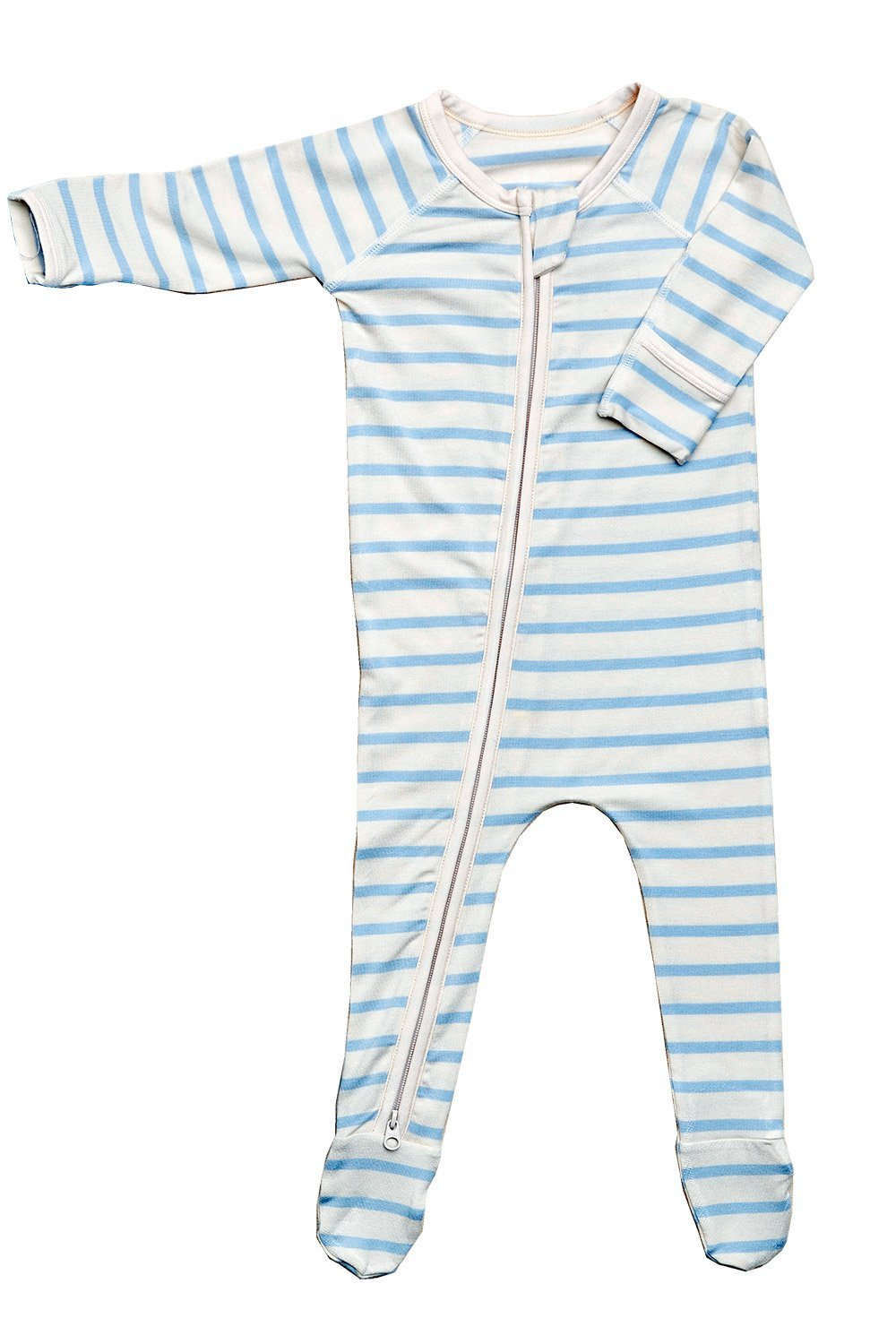 Boody Body Baby EcoWear Long Sleeve Onesie - Soft Blanket Sleeper with Built in Mittens Made from Natural Organic Bamboo - Soft Eco Fashion for Sensitive Skin - Striped Sky Blue-Chalk, 0-3 Months