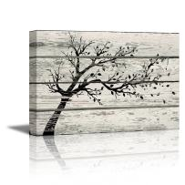 """wall26 - Canvas Prints Wall Art - Artistic Tree with Leaves in Black and White on Vintage Wood Background Rustic Home Decoration - 16"""" x 24"""""""