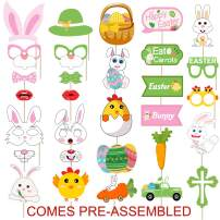 30 PCS Easter Photo Booth Props Kit - Large Size, No DIY Needed - Bunny Photo Booth - Bunny Photo Props Set for Spring Easter Party Decoations Supplies Favors