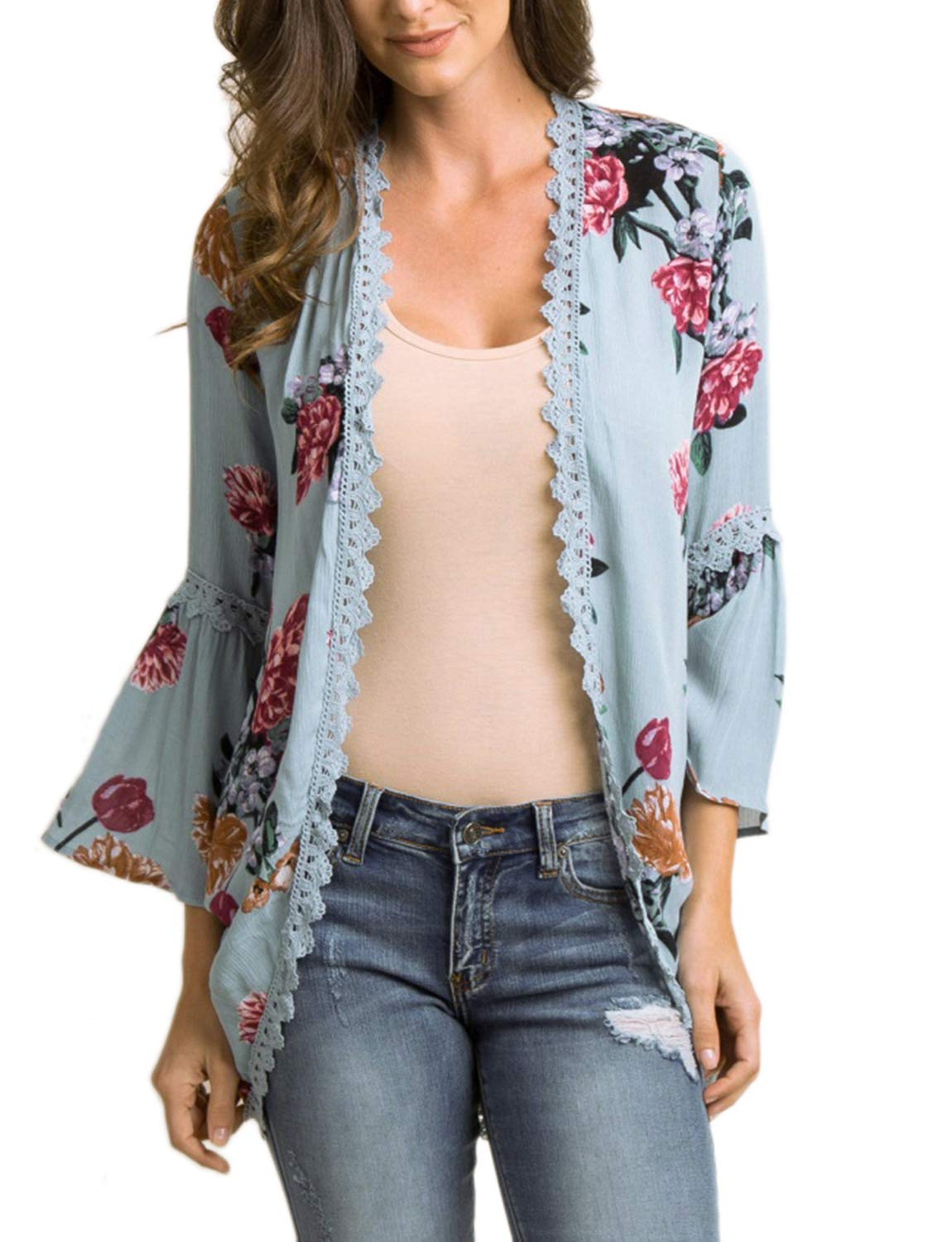 Chunoy Women Lace Trim Floral Cotton Chiffon Kimono Cardigan Loose Out Wear Blue Small