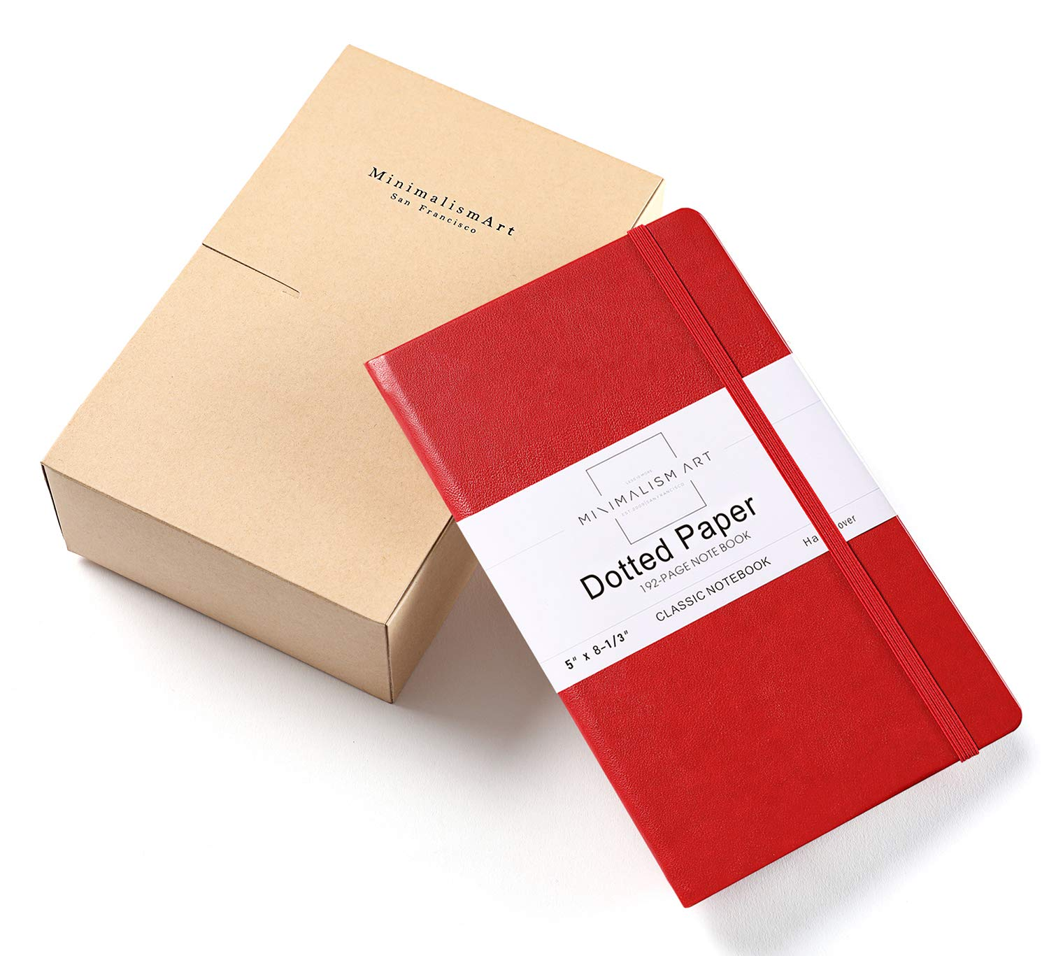 Minimalism Art, 3-Pack Classic Notebook Journal, A5 Size 5 X 8.3 inches, Red, Dotted Grid Page, 192 Pages, Hard Cover, Fine PU Leather, Inner Pocket, Quality Paper-100gsm, Designed in San Francisco