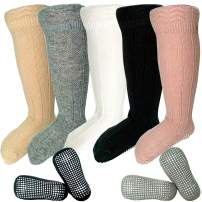 MOLUMIX Baby Infants Knee High Anti Slip Socks Stockings with Grips for Girls and Boys