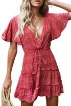 GAMISOTE Womens Floral Print Mini Dress V Neck Short Sleeve Boho Swing Dresses (Medium, Z-red)