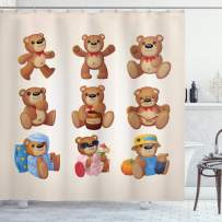 """Ambesonne Cartoon Shower Curtain, Happy Toy Teddy Bears with Funny Different Faces Nostalgic Kids Design, Cloth Fabric Bathroom Decor Set with Hooks, 70"""" Long, Chocolate Cream"""