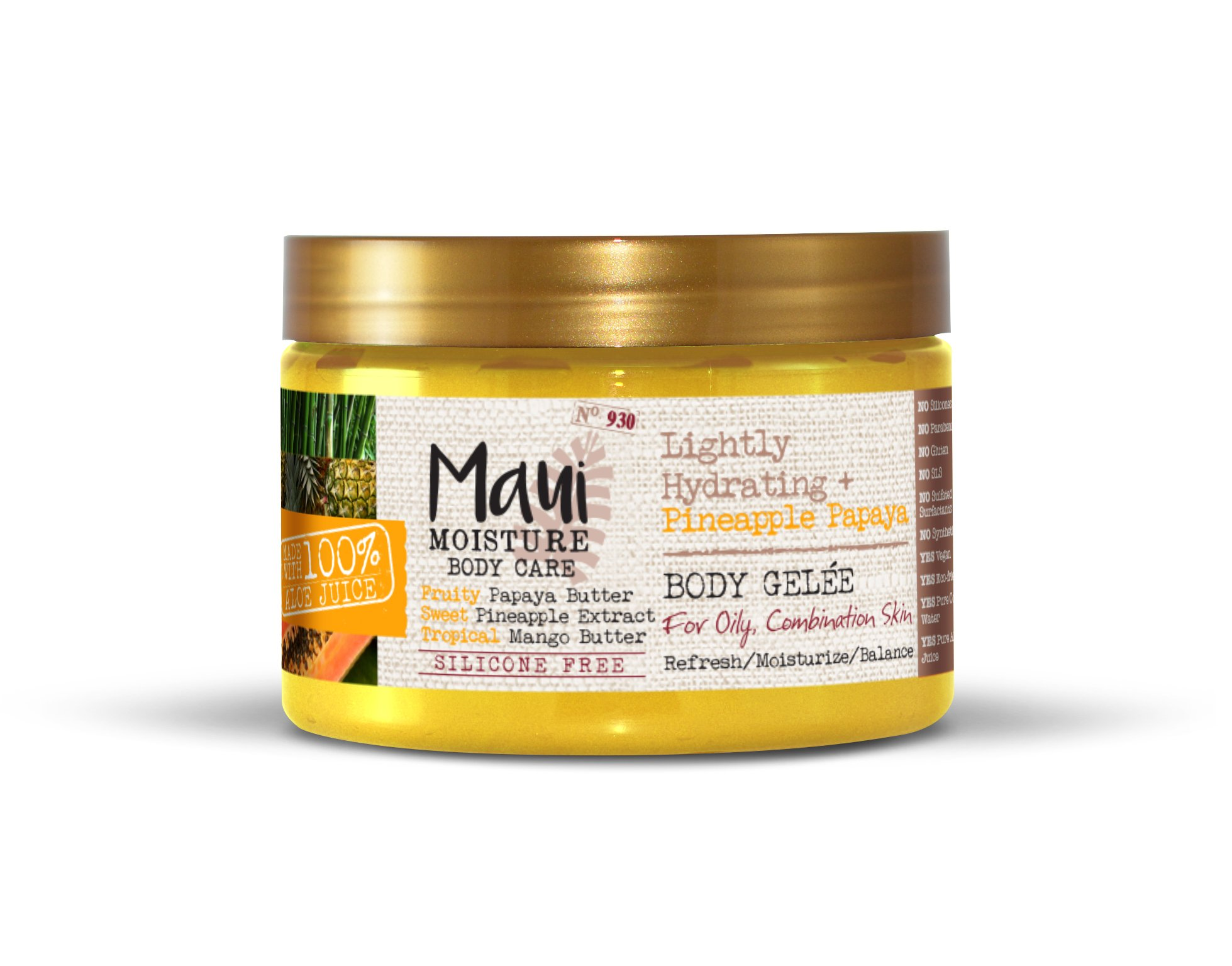 Maui Moisture Pineapple Papaya Creamy Body Gelee 12 Ounce Moisturizing Body Gelee Formulated for Oily Skin Normal Skin Combination Skin, with Aloe Vera Juice and Coconut Water, Silicone Free