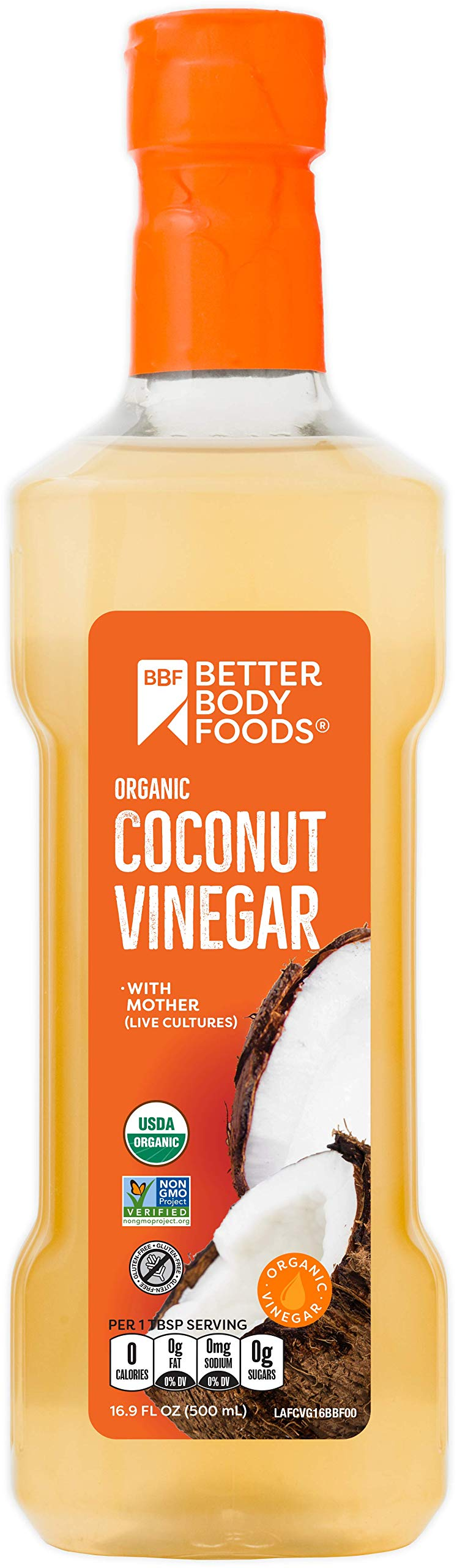 BetterBody Foods Organic Coconut Vinegar, 16.9 Ounces