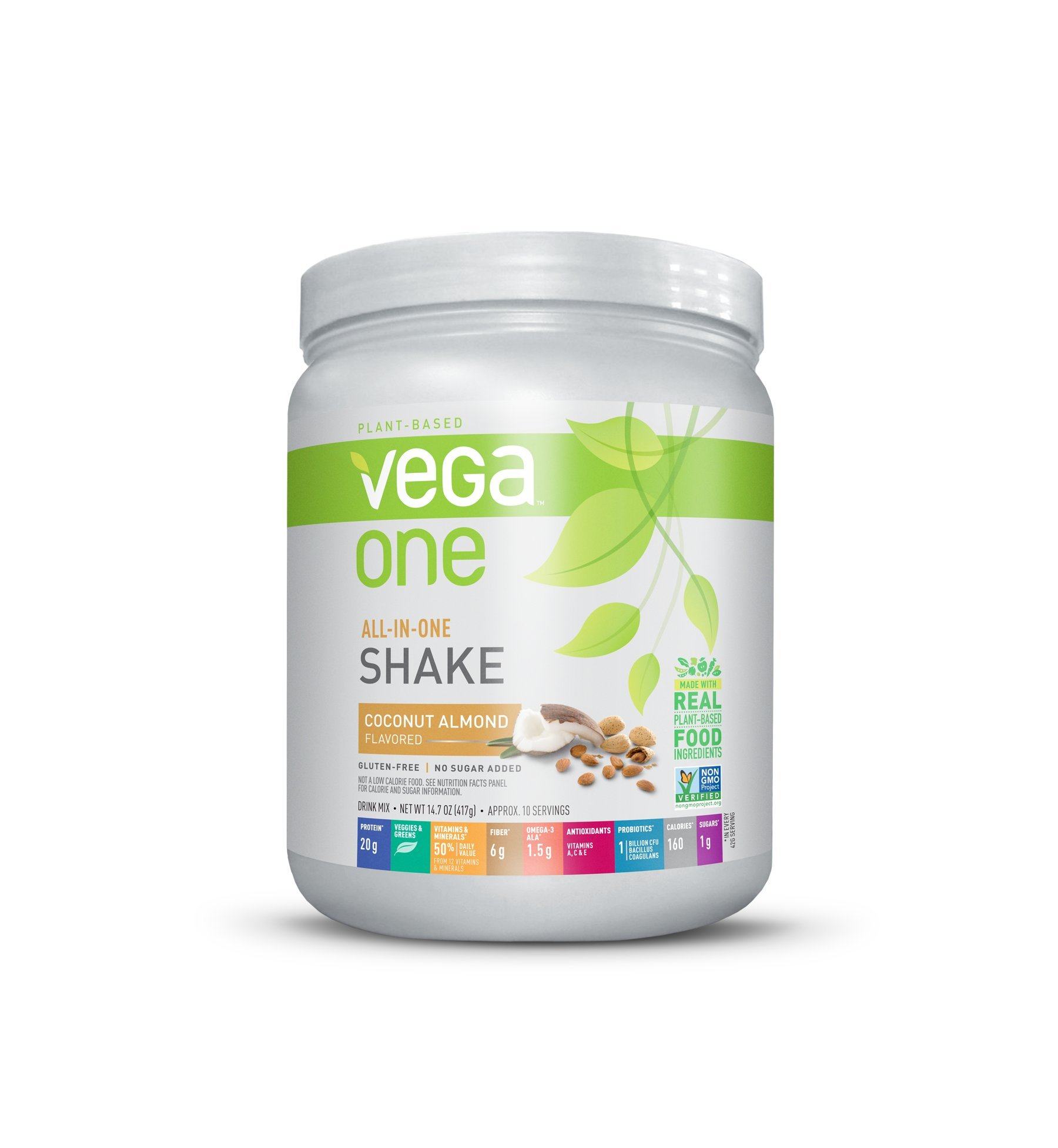 Vega One All-In-One Nutritional Shake Coconut Almond (10 Servings) - Plant Based Vegan Protein Powder, Non Dairy, Gluten Free, Non GMO, 14.7 Ounce (Pack of 1)