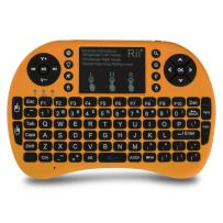 (Upgraded) Rii 2.4GHz Mini Wireless Keyboard with Touchpad&QWERTY Keyboard,LED Backlit,Portable Keyboard Wireless for laptop/PC/Tablets/Windows/Mac/TV/Xbox/PS3/Raspberry Pi .(i8+ Golden)