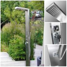 No Worries Products 316 Marine Grade Stainless Steel Massage Outdoor Shower Panel (Windsor) Swimming Pool Backyard Bathroom Hot & Cold Rainfall Hand Held Wall Mounted or Free Standing Outside Shower