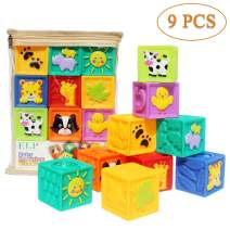 Kingtree Baby Blocks (Set of 9), Squeeze Building Blocks Soft Stacking Block Set for Toddlers, Teething Chewing Educational Baby Toys for 6 Months and up with Numbers Animals BPA Free