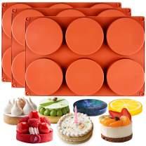 FUNSHOWCASE Round Disc Baking Silicone Mold 6-Cavity, 4inch, Circle Epoxy Resin Tray, Chocolate Cake Pie Custard Tart Muffin Sandwiches Eggs Bakeware, Soap Concrete Cement Plaster Pan, 3-Bundle