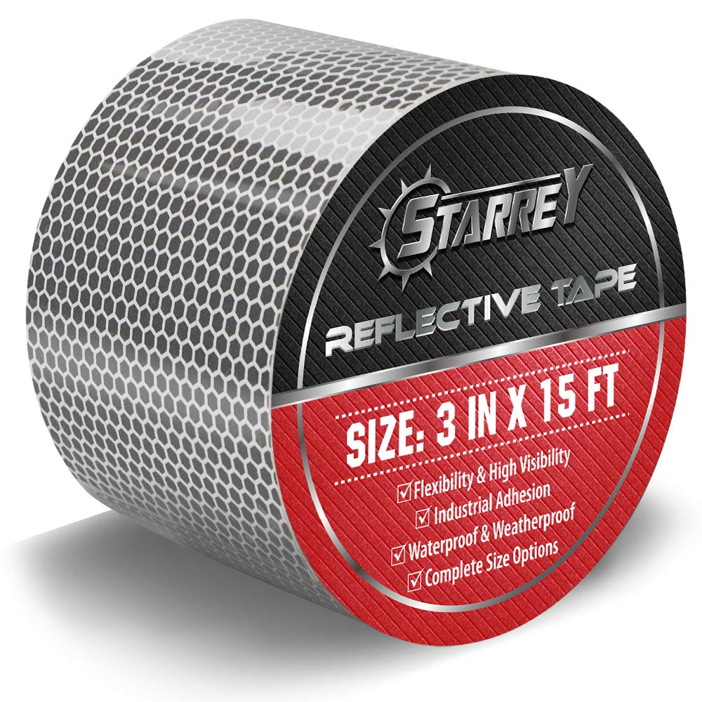 Starrey Flexible Reflective Tape White Silver 3 Inch X 15 Feet High Intensity Grade DOT-C2 Safety Tape Waterproof Conspicuity Trailer Reflector …