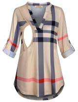 CzzzyL Womens 3/4 Roll Sleeve Breastfeeding Shirt Nursing Tops Plaid Tunic Blouse