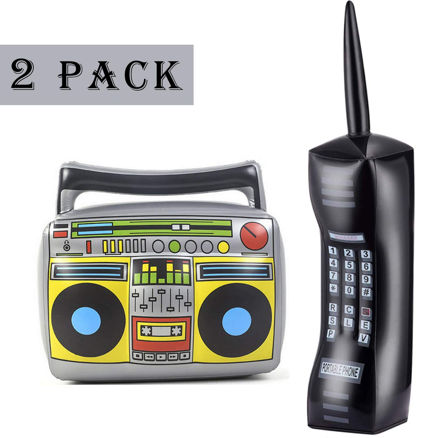 2PCS Inflatable Radio Boombox Inflatable Mobile Phone - Inflatable Props for 80s 90s Party Decorations