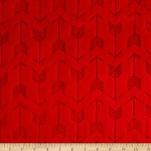Shannon Fabrics Minky Embossed Arrow Cuddle Fabric by The Yard, Scarlet
