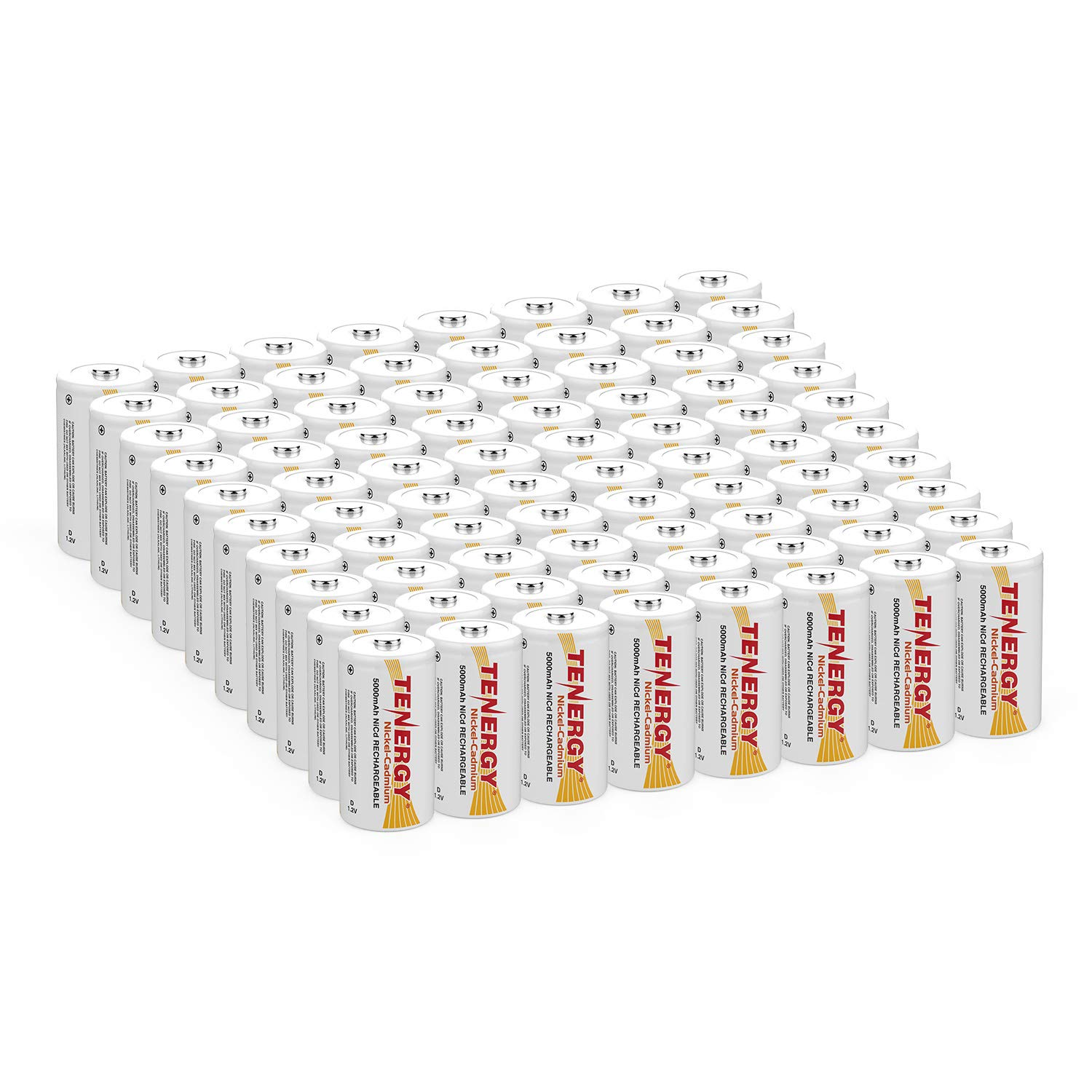Tenergy D Size 5000mAh NiCd Button Top Rechargeable Batteries, 80 Pack