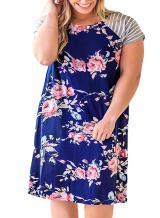 Yskkt Womens Plus Size T Shirt Dresses Floral Striped Raglan Short Sleeve Casual Summer Tunic Dress
