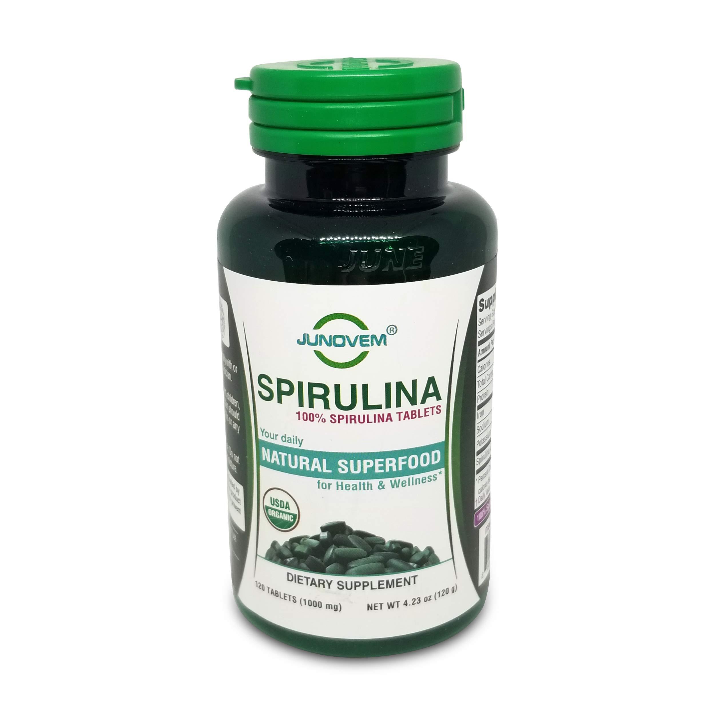 JUNOVEM 500 mg or 1000 mg Organic 100% Spirulina Tablets Natural Superfood Non-GMO (1000 mg x 120 Count)