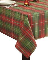 Benson Mills Christmas Plaid Printed Tablecloth, 52-Inch by 70-Inch