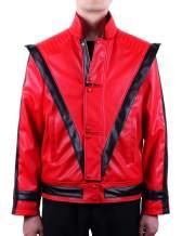 MJB2C-Style of Michael Jackson Thriller Costume Leather Jacket Kids,Child/Adult Red