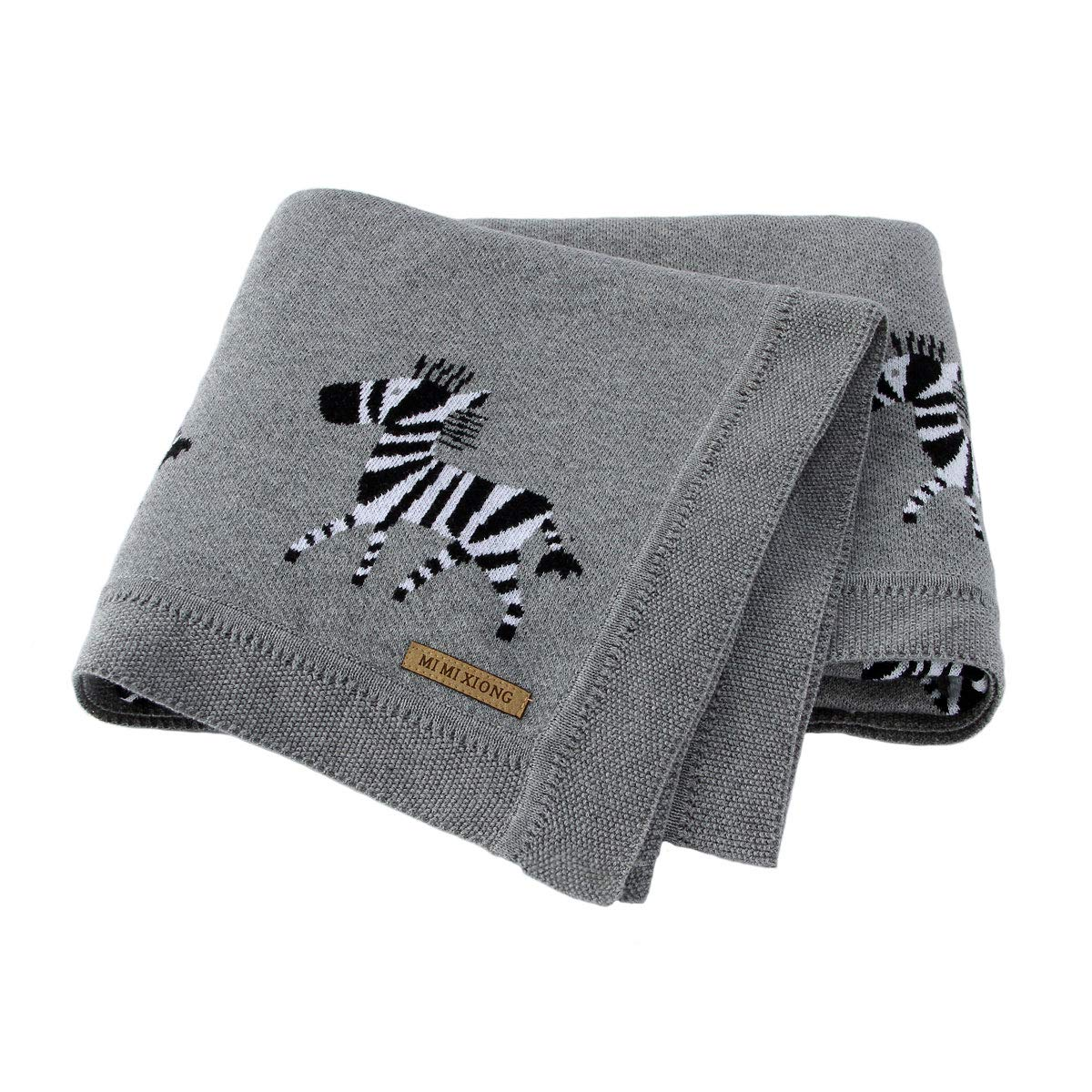 mimixiong 100% Pure Cotton Baby Blankets Soft Nursery Blanket for Newborn Baby with Cute Zebra Grey Size 30 x 40 inches