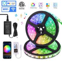 KORJO Led Strip Lights, 32.8ft WiFi Music Lights with Dream Color Chasing, 12V 300 LEDs App Controlled Rope Lights Kit Working with Alexa, Waterproof Flexible Led Lights for Room, Kitchen and Party