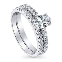 BERRICLE Rhodium Plated Sterling Silver Solitaire Engagement Wedding Ring Set Made with Swarovski Zirconia Oval Cut 1.21 CTW