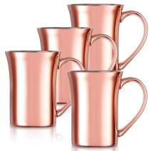14 oz Coffee Mugs Insulated Cups Double Wall Stainless Steel Copper Color for Office Home Drinking Tea Cola (4)