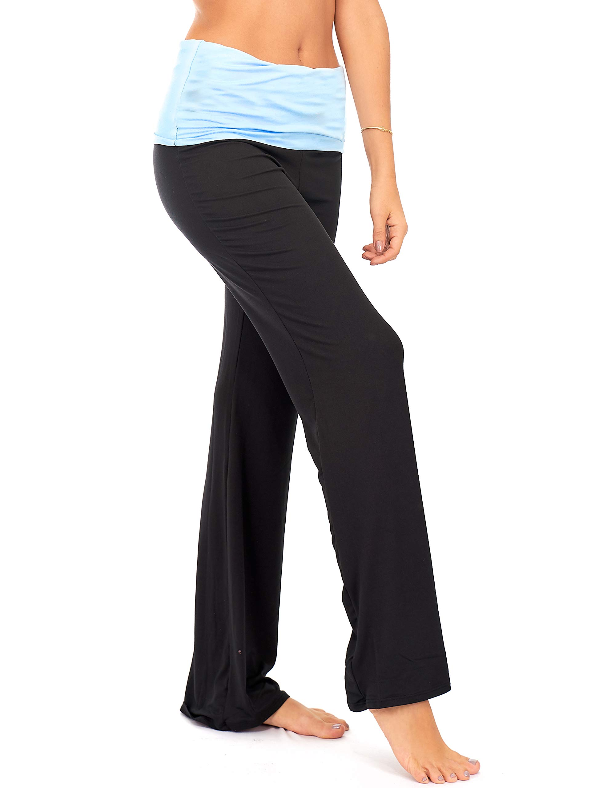 DEAR SPARKLE Fold Over Yoga Lounge Stretch Pants Women | Contrasting High Waist Loose Pregnancy Pant Plus (P8)