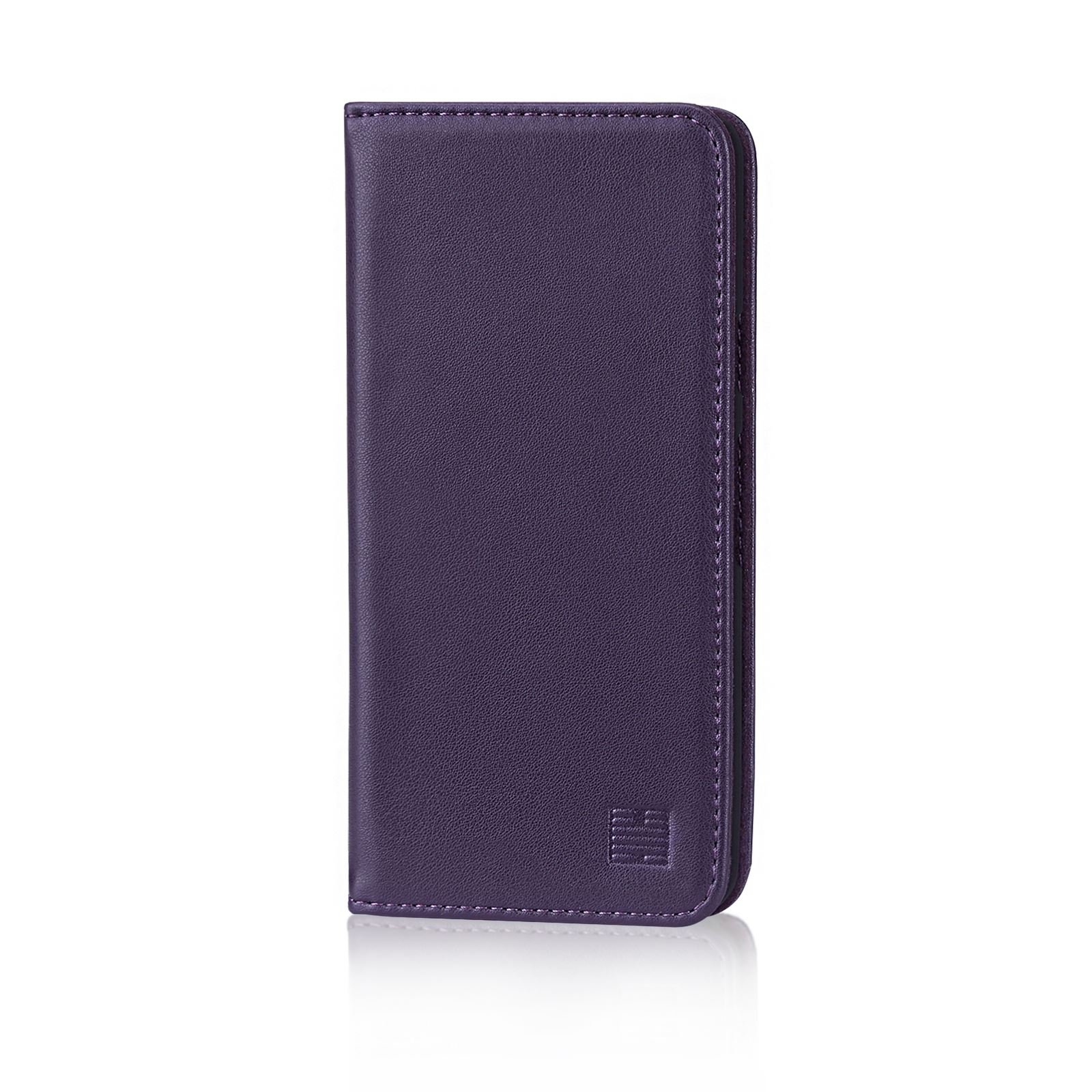 32nd Classic Series - Real Leather Book Wallet Case Cover for Google Pixel 2, Real Leather Design with Card Slot, Magnetic Closure and Built in Stand - Aubergine