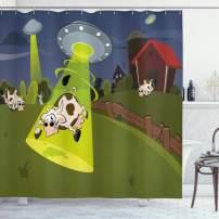 "Ambesonne Cartoon Shower Curtain, Farm Warehouse Grass Fences Cow Alien Abduction Funny Comics Image Artwork Print, Cloth Fabric Bathroom Decor Set with Hooks, 75"" Long, Brown Green"