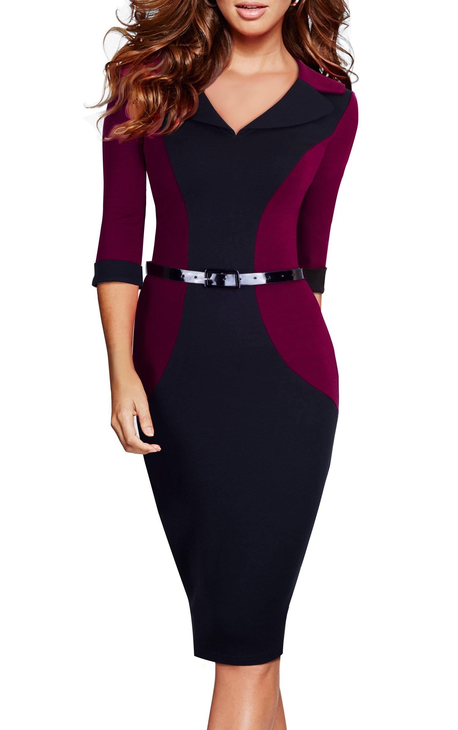 HOMEYEE Women's V-Neck Patchwork 3/4 Sleeve Wear to Work Pencil Dress B354
