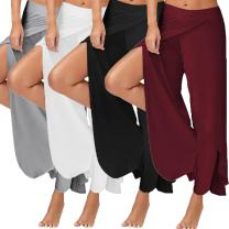 Women's Flowy Split Wide Leg Cropped Pants Comfortable Lightweight Flowing Lounging Palazzos Yoga Sports