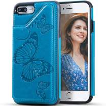 iPhone 8 Plus Wallet Case for Women,iPhone 7 Plus Case with Card Holder,Kudex Embossed Butterfly Premium Leather Folio Flip Magnetic Buttons Back Wallet Case with 3 Card Slots & Kickstand(Blue)