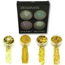 Gold Holographic Glitter Iridescent Powder Cosmetic Fine Chunky Star Body Glitter Festival Rave (4CGPD-03)