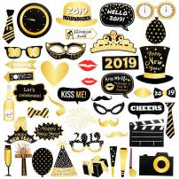 Kkonetoy 46pcs 2019 New Year's Funny Gold and Black Photo Booth Props Kit,2019 New Years glasses,New Year's Eve Party Supplies - 2019 Party Decorations