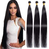 Maxine Hair 10A Brazilian Virgin Straight Hair 4 Bundles 100% Unprocessed Long inch Human Hair Weave Extensions Natural Color Can Be Dyed and Bleached (32''&32''&32''&32')