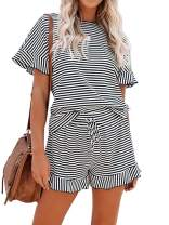 KIRUNDO 2021 Summer Women's Animal Print Pajamas Suits Round Neck Short Sleeves Pjs Sets Loungewear Sleepwear Shorts Sets