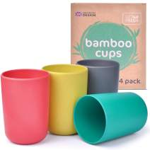 GET FRESH Bamboo Kids Cups Set – 4-pack Reusable Bamboo Cups for Toddlers and Adults – Colorful Bamboo Fiber Drinking Cups for Children – Bamboo Kids Dinnerware Set for Everyday Use