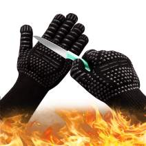Oven Gloves 932°F Heat Resistant Gloves, Cut-Resistant Grill Gloves, Non-Slip Silicone BBQ Gloves, Kitchen Safe Cooking Gloves for Men, Oven Mitts,Smoker,Barbecue,Grilling (Oven Gloves)