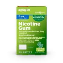 Amazon Basic Care Nicotine Polacrilex Coated Gum 2 mg (nicotine), Mint Flavor, Stop Smoking Aid; quit smoking with nicotine gum, 20 Count