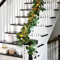 Eucalyptus Garland with Lights - 6 Foot, Battery Operated, 120 Warm White LED Lights, Artificial Leaves with Seeded Flower Bunches, Spring Mantle Decoration - Timer and Batteries Included