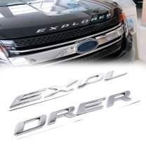 3D Letters ABS Front Hood Emblem Compatible for 2011-2020 Explorer Sport Hood Letters Stickers -Silver