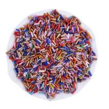 Pandahall 1 Pound Bag of Glass Bugle Seed Beads 6x2mm Random Mixed Color Tube Loose Spacer Beads Hole: 0.5mm for DIY Jewelry Making (About 10000pcs)