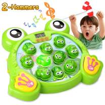 HOMOFY Interactive Whack A Frog Game, Learning, Active, Early Educational Toys for 2 3 4 5 6 7 8 Year Old Boys,Girls,Kids and Toddlers Fun Gifts with Music,Lights(2 Soft Hammer)