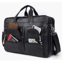 Augus 17 inch Full Grain Leather Laptop Briefcases for Men Business Travel Messenger Bag,Black