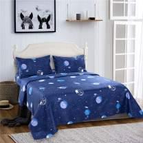 Bedlifes Space Sheets for Kids Boys Girls Outer Space Stars Bed Sheets Flat Sheet& Fitted Sheet with Pillowcase 3PCS Navy Twin
